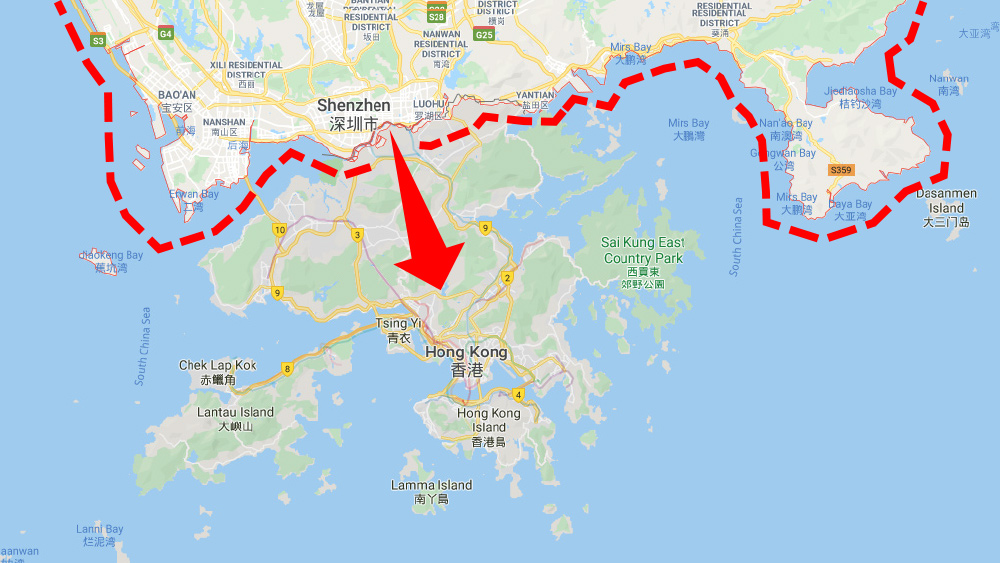 shezhen-hong-kong-map-arrow